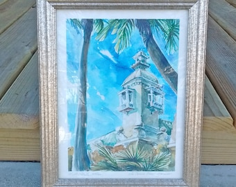 The Casino Towers - Monaco by S W Blake watercolor art print signed and numbered 225/320 by the artist metallic wood frame under glass