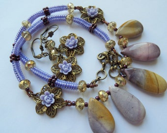 LUCIA - Lilac and Yellow Beaded Mookite Jasper Flower Necklace and Earrings Set, Beaded necklace, Beaded Earrings, Romantic Women's Necklace