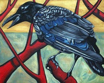 """CANVAS PRINT  Raven Red Tree Painting 10x8"""" 20x16"""""""