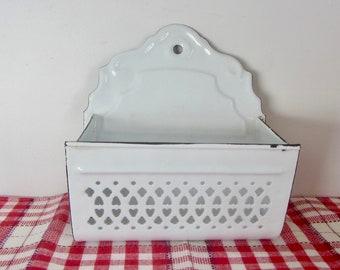 Antique  Enamelware Onion keeper, Wall hanging kitchen storage, White enamelware