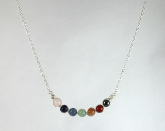 7 Chakras bar and chain necklace model: