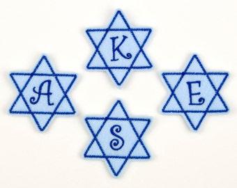 STAR of DAVID Monogram - Embroidered Felt Embellishments / Appliques - Blue  (Qnty of 4) SCF5050