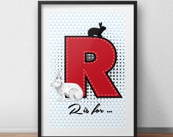 Letter name art R letter picture R letter print rabbit print rabbit art print rabbit poster name wall print