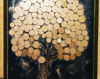 Handmade picture with Money tree. Coins Feng Shui