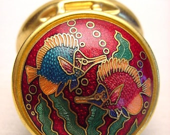 Colorful Cloisonne Longnose Fish Pill Stash Box Collectible