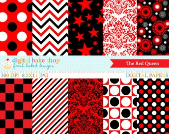 red digital papes black white polkadots polka dots stripes damask checked - The Red Queen Digital Papers