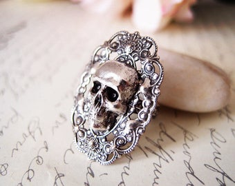Cinder-- skull Ring-adjustable-steampunk-Victorian- statement-armor ring VS033