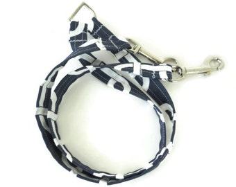 Navy blue and white tangent dog leash, multiple dog leash, coupler leash
