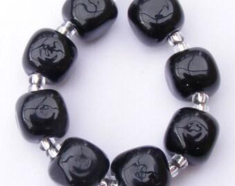 Handmade lampwork beads set of 8 shiny black curvy cube beads