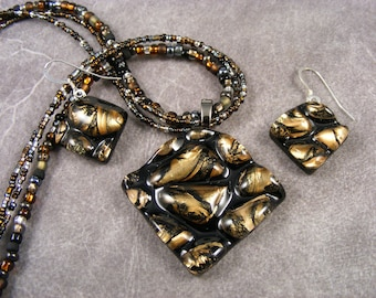 Bronze Textured Beaded Pendant & Earrings Set