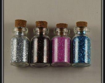 4 mini glass with fine glitter jars
