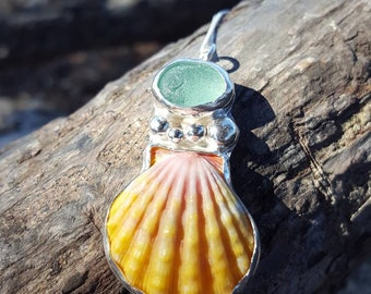 Aqua seaglass & Hawaiian sunrise shell necklace