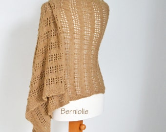 Lace knitted shawl, Camel, Light Brown, N354
