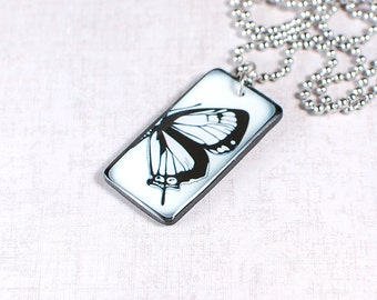 Butterfly Pendant - Insect Necklace - Gentle Jewelry - Black and White Pendant