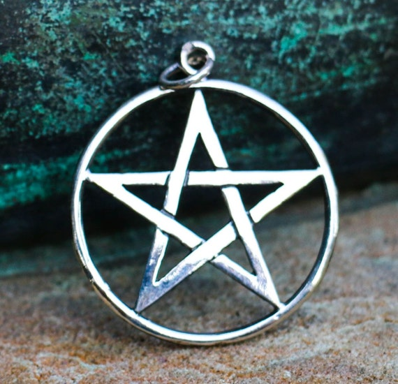 Silver pentacle pentagram pendant necklace witch witchcraft aloadofball Gallery
