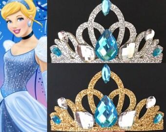 Cinderella Crown,Cinderella Elastic Headband,Cinderella themed Birthday,Cinderella themed Party,baby cinderella crown,Cinderella tiara,blue