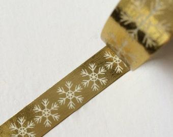 15mm x 10 m washi masking tape - gold foil, snow (yu)