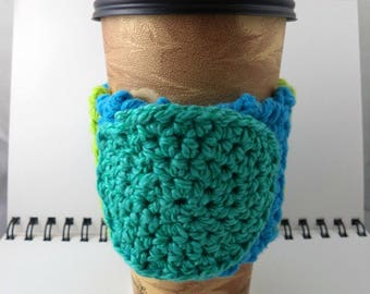 SALE - Aqua and Lime Crocheted Coffee Cozy with Aqua Circular Pocket (SWG-A14)