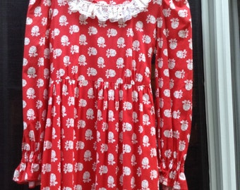 Robe Vintage rouge Maxi pionnier Granny