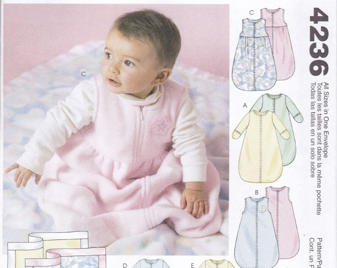 FREE US SHIP Sewing Pattern McCall's 4236 Infant Baby Boy Girl Blanket 13-24 lbs Bunting Jumpsuit Hat Factory Folded Out of Print