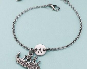 Gondola charm bracelet, gondola charm, adjustable bracelet, boat, personalized bracelet, initial, monogram