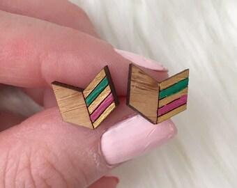 Hand painted Wooden arrow earrings, laser cut wooden geometric arrow, arrow studs, hypoallergenic earrings, gifts for her