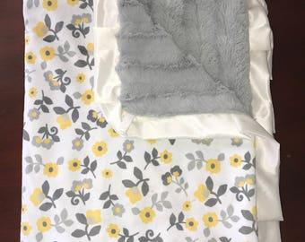 Yellow Flower Baby Minky Blanket