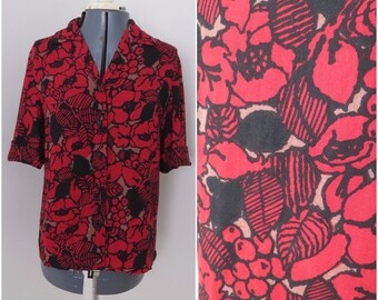 Vintage 60s 70s Red Black Floral Short Sleeve Shirt - Womens Bust 39 (B2)