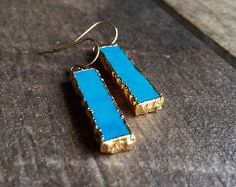 Turquoise Earrings//Turquoise Earrings Gold//Gold Turquoise Earrings//Turquoise Bar/Turquoise Jewelry/Gold Turquoise/Raw Gemstone Earrings