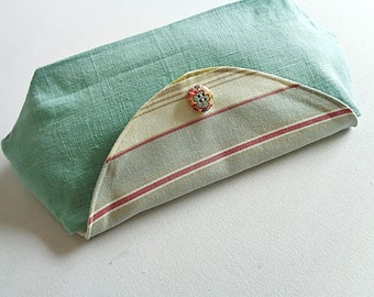 Retro clutch with all turquoise linen and fabric Bayadère lined linen