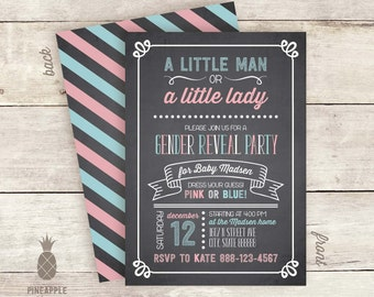 Chalkboard Inspired Gender Reveal Invitations