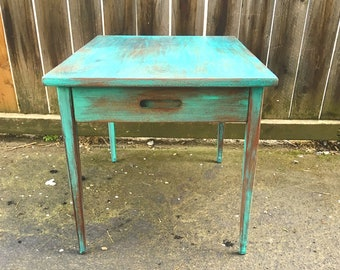 Old Turquoise Mint Green Wooden Table