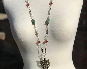 Art Nouveau ~ Antique Brass Owl Pendant with Turquoise & Carnelian Necklace