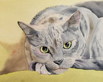 Original Cat Watercolor, Cat Art, Cat Painting