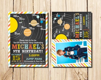 Solar System Birthday Invitation, Space Birthday Printable Invitation,  Solar System Party Invites, Out of This World Birthday, Solar System