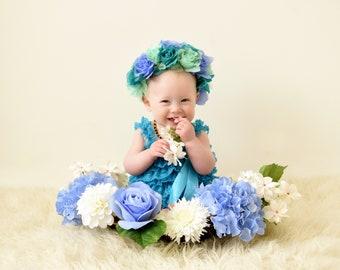Handmade newborn photo prop flower basket