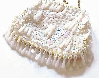 Vintage White Purse Evening Bag Sequin and Drop Beads 1960 Encore Bridal Wedding