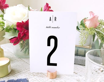 Modern Table Numbers Template  | Instant DOWNLOAD | Modern | Flat 5x7 | Editable Colors | Mac or PC | Word & Pages