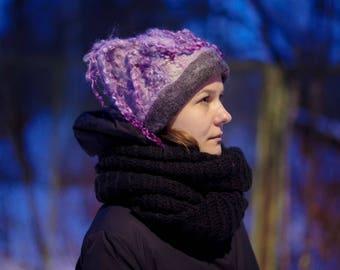 "Felted hat Women hat ""Lilac twilight "" Hat with curls Unique wild handmade Felt cap"