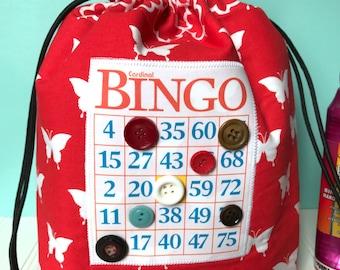 Bingo Bag - Red Butterfly Drawstring Bag - Knitting Project Bag - Mother's Day Gift - Bingo Gift - Bingo Dauber Bag - Makeup Bag - Wristlet