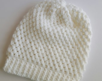 Sparkly snow white slouchy hat, crochet slouchy beanie, slouchy hat women, teen gift, winter hat