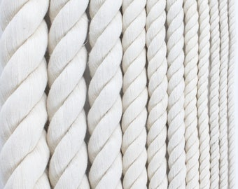 Twisted Cotton Rope Macrame Crafting Cord Natural White Cotton Rope Triple Strand Macrame Supplies Fiber Art Cotton DIY Rope by the Foot