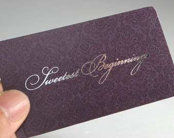 200 Business Cards - metallic foil stamped - 16 pt heavy nouveau - custom printed