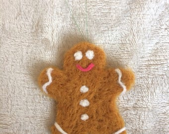 Needle felted gingerbread man Christmas Tree decoration