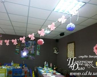 Bow Paper Garland - Unique author's design - Bow garland- Kids Room Decor - Girl Nursery Decor - Princess baby shower - bow party decor