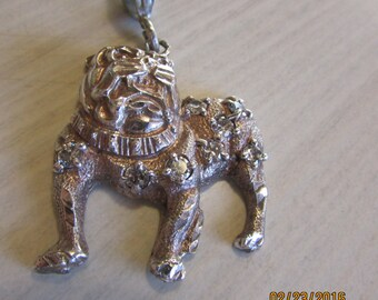 Sterling Silver Bulldog Pendant with Diamond Cut and CZs