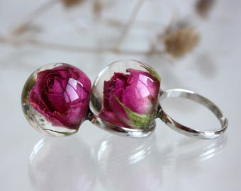 Pink Rose epoxy resin. Ring with dry rose. Epoxy resin ring. Ringt sphere Real flower ring. Ringt ball. Ring terrarium. Pressed Rose Ring