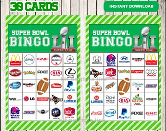 picture about Printable Super Bowl Bingo Cards titled 2018 tremendous bowl bingo playing cards