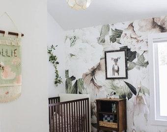 Blush Floral Mural - Vintage Wallpaper