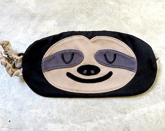 SLOTH Sleep Mask Cute Animal Eye Mask Sleeping Mask Sloth Eyemask Travel Mask Flight Mask Kitsch Cosplay Mask Blindfold Sloth Gifts - BLACK